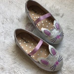 Like new Cat & Jack Bunny Flats silver w lavender